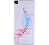 Feather Pattern Thin Transparent TPU Material Phone Case for Huawei  G7/P7/P8