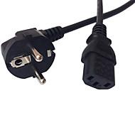 KAIHUA® Standard Europe Power Cord 16A 250V CEE 7/7 Schuko 90° angled Plug to IEC C13 Socket H05VV-F3G 0.75mm² Black