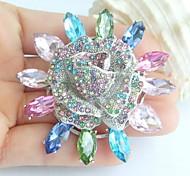 2.56 Inch Silver-tone Multicolor Rhinestone Crystal Flower Brooch Pendant Art Decorations