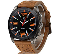 V6® Men's Fashion Black Dial Leather Strap Military Casual Watch Cool Watch Unique Watch