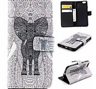 motif d'éléphant en cuir PU flip matériel pour iphone 6 / 6s