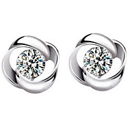Woman Rotary Love Flower  Zircon Silver Earrings