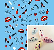 Water Transfer Printing Lipstick Nail Stickers