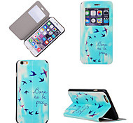 Free Bird Pattern PU Full Body Case with Window and Stand for iPhone 6S