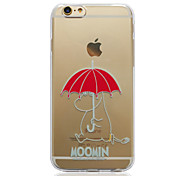 Moomin with Red Umbrella Transparent TPU Soft Back Cover for iPhone 6/6S