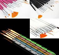 15pcs acrílico nail art desenho projeto pintura pincel (3 cor escolher) com 5pcs 5 cores dos tamanhos uv jogo de escova gel