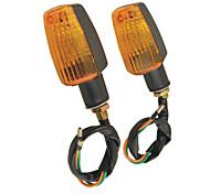pair Cassa di plastica giallo led moto lampeggiatore luci per moto
