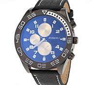 militaire mode de conception étui noir montre-bracelet à quartz bande de cuir pour hommes