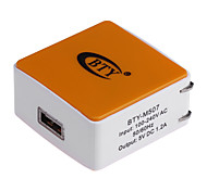 BTY M507 1.2A Universal USB Power Charger Adapter - White + Orange (100~240V / US Plug)