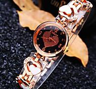 Women's Luxury Trend Round Heart Pattern Dial Diamond Heart Shape Band Fashion Quartz Bracelet Watch (Assorted Colors)