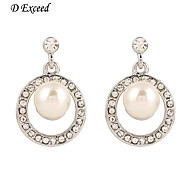 D Exceed  Fashion Wedding Pearl Ladies Earrings Korean Style Round Shape Drop Dangle Earrings with Crystal 2015 New