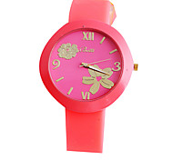 Solid color fashion  Geneva silicone wrist quartz watch