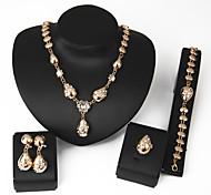 Women Wedding Jewelery Bridal Dinner Heart-shaped Gold Rose Diamond Mosaic Necklace Bracelet Rings Earrings Four - piece