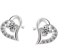 WH 925 Silver Heart-shaped  Mini Earrings