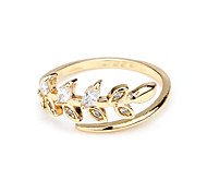 Fashion CZ Ring leaves