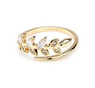 Fashion CZ Ring leaves