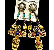 Earrings Set Gemstone Imitation Pearl Rhinestone Alloy Luxury Jewelry Cross Jewelry Party Daily 1 pair