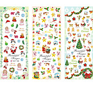 3PCS Water Transfer Printing Christmas Gift Series Nail Stickers