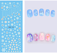 Big Page Water Transfer Printing White Snowflake Nail Stickers