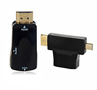 3 in 1 Mini & Micro & HDMI to VGA Output Video Adapter with 3.5mm Audio for Tablet & Projector & Monitor