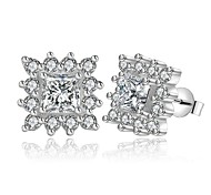lureme® Fashion Style Silver Plated Geometry Shape with Zircon Stud Earrings