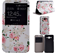 Peony Pattern PU Material All Inclusive Bracket Models phone Case for Samsung Galaxy J5/J7
