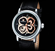 FORSINING Women's Gold Flower Design Silver Auto Mechanical Leather Strap Watch Cool Watches Unique Watches