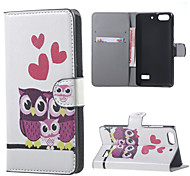 Three Owls and Hearts Leather Wallet Flip Stand Case cover For Huawei Honor 4C Mobile Phone Cases Covers