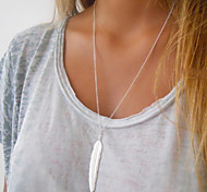 Women's Fashion Simple Metal Feather Pendant Chain Necklace