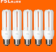 5 pcs fsl E26/E27 T3 3U 13W 640LM 6500K Cool White Light CFL Bulbs (AC220V)