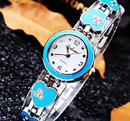 Women's Luxury Trend Round Heart Scale Dial Diamond Heart Shape Band Fashion Quartz Bracelet Watch (Assorted Colors)