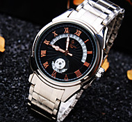 Men's Trend High-end Personality Round Dial Mineral Glass Mirror Steel Band Business Fashion Mechanical Waterproof Watch