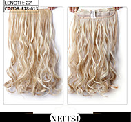"Neitsi® 1pc 110g 22"" 3/4 Full Head 5clips Kanekalon Synthetic Braiding Hair Pieces Clip In/on Wavy Extensions F18-613#"