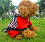 Dog Coat Red / Blue Winter Houndstooth