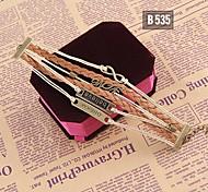 Fashion Women Handmade Woven Jewelry Brown Bangle Bracelet