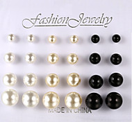 European And American Fashion Pearl Earrings 12 Pairs Of Size 3 Color Stud Earrings Wedding/Party/Daily/Casual 1set