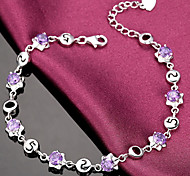 Woman Star-shaped Amethyst Surrounded Sterling Silver Bracelet