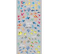 Big Page Water Transfer Printing Marine Organism Nail Stickers