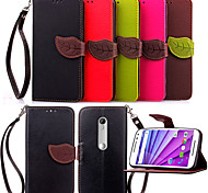 KARZEA™ Leaf Snap PU Full Body Case with TPU Back Cover Stand forMotorola MOTO G3 (Assorted Colors)