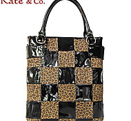 Kate & Co.® Women PVC / Suede Tote Red / Black - TH-02047