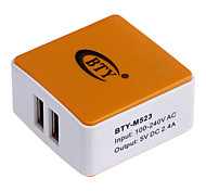 BTY M523 2.4A Universal USB Power Charger Adapter - White + Orange (100~240V / US Plug)