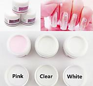 3pcs escultura color mezclado polvo acrílico tallado uñas establecer consejos del arte del clavo de polímero formador (30g x3, blanco,