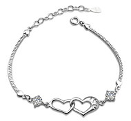 Woman Double Heart Happiness Crystal Silver Bracelet