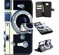Retro-Kamera-Muster PU-Leder-Telefonkasten für Samsung-s6 Kante sowie