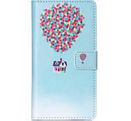 casa balão padrão carteira de couro pu caso de corpo inteiro com slot para cartão e representa Sony Xperia m4 do aqua
