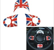 3 piezas de color rojo estilo union jack cubierta de la rueda patrón de la bandera de dirección azul para miniserie r