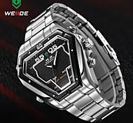 WEIDE Mens Irregular Watch Analog Digital LED Display Waterproof Stainless Steel Band Luxury Sport Wristwatch