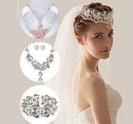 Wedding Accessories Set(Veil & Gloves & Necklace & Earrings & Bracelet)