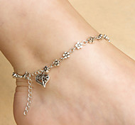 Women's Simple Tibetan Silver Heart-Shaped Plum Peach Heart Anklet