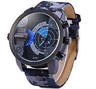 Men's Military Fashion Double Time Leather Band Quartz Watch